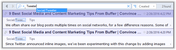 Search-as-you-type feature in CintaNotes