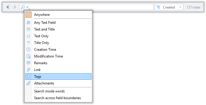 Searching notes by fields in CintaNotes