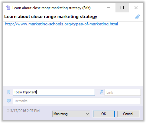 Adding several tags to one note in CintaNotes
